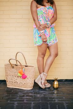haute off the rack, summer style, colorful romper, Lilly Pulitzer Daisy Romper, Straw Beach tote, tassel beach tote, gold pineapple tumbler, beaded bracelets, tassel bracelets, julie Vos rings, gold wedges, espadrille wedges @lillypulitzer