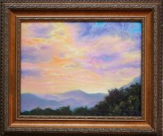 """Original Oil Painting """"Misty Mountain Sunset"""" 8 by 10 inch Framed Ready to Hang"""