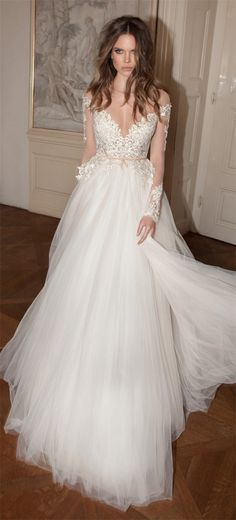 V-neck lace and tulle empire waist wedding dress
