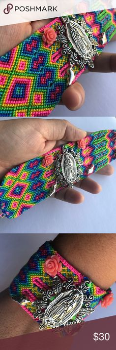 """New Handmade Knit Lady of Guadalupe Bracelet Hand woven wide bracelet with roses, birds and Our Lady of Guadalupe charm accents. Very vibrant colors! Unique One-of-a-Kind design! Adjustable 6"""" Up to 8"""" made in Mexico. Cielito Lindo  Jewelry Bracelets"""