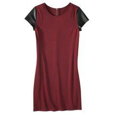 Mossimo® Women's Short Sleeve Ponte w/Faux Leather Dress - Garnet & Black dress from Target Fall 2013 $30