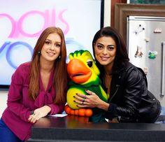 Juliana Paes e Marina Ruy Barbosa com Louro José no Mais Você (Foto: Ellen Soares/Gshow)