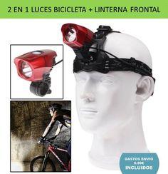 Linterna frontal luz LED faro delantero bicicletas. Accesorio deportes ciclismo.