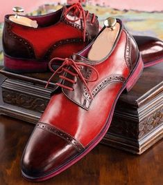 Men Two Tone Maroon Red Derby Rounded Cap Toe Real Leather Lace Up Shoes US 100 % Handmade Shoes Upper made with Cow Leather Sole made with Cow Leather Insole/ Lining made with Cow Leather Heel Made with Cow Leather All Sizes are Ava. Handmade Leather Shoes, Suede Leather Shoes, Leather And Lace, Leather Men, Real Leather, Cowhide Leather, Lace Up Shoes, Blue Shoes, Cowboy Shoes