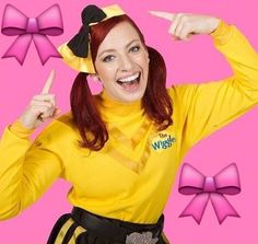 """This beautiful yellow wiggle is named, Emma! Emma Wiggle does Ballet and Irish Dancing! She adores bows so much! Emma loves to say, """"Have a Bowtiful Day!"""""""
