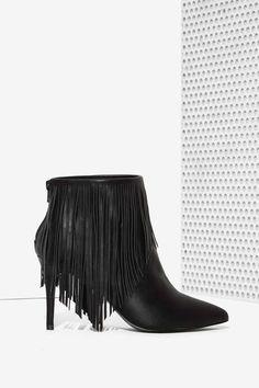 Celeste Fringe Bootie - Black   Shop Shoes at Nasty Gal!
