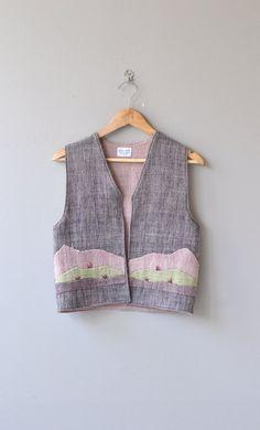 Aymara vest vintage wool vest quilted applique by DearGolden