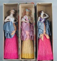 "1920s 3-German Dolls Art Deco Bisque Wisk Broom Dresser Dolls MIB MINT in Box8"""