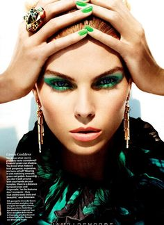 """""""green goddess"""" from this month's allure. i seldomly find a green polish that i like but love this one - called """"posh"""" and the eye makeup is super pretty too. (all revlon)"""
