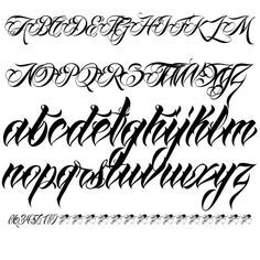 Tattoo Lettering Alphabet, Calligraphy Tattoo Fonts, Tattoo Lettering Design, Chicano Lettering, Graffiti Lettering Fonts, Script Lettering, Fancy Fonts Alphabet, Tattoo Lettering Styles, Letras Tattoo