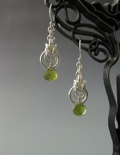 Byzantine Ripple Chain Maille Earrings with Vasonite