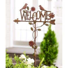 Giftcraft 'Welcome' Bird Garden Stake (315 DKK) ❤ liked on Polyvore featuring home, outdoors and outdoor decor