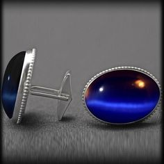 Cuff links, sterling silver with blue stone from http://ulovejewelry.etsy.com
