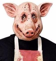 mascara cabeza d cochino cerdo asesino y delantal. halloween