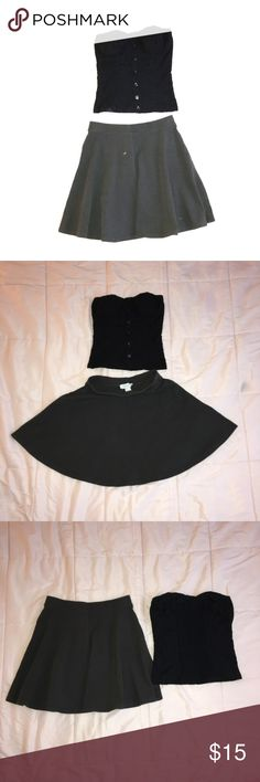 Outfit Bundle skirt and tops Forever 21 dark gray skate skirt size small, stretches waist ,measure all around are 24 inch. Great condition.   Black top are tube top sleeveless ,button decorative in front, elastic stretch in the back, nice padded bra, XS from Full Tilt, good shape 💕 forever 21/ full Tilt Skirts Circle & Skater