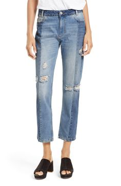 Main Image - Free People The Patchwork High Waist Crop Jeans