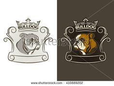 Detailed logo of bulldog head. Bulldog mascot vector illustration for school, college sport team logo concept, apparel design.