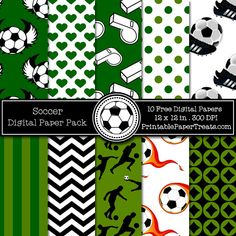 Free Soccer Digital Papers Pack, great for male cards