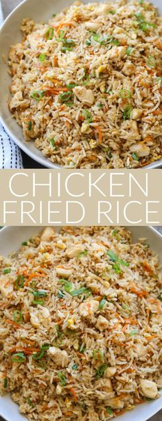 Recipe for chicken fried rice. Chicken in fried rice with vegetables.