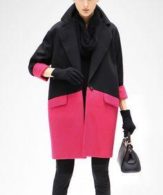 Look at this #zulilyfind! Rose & Black Color Block Coat #zulilyfinds