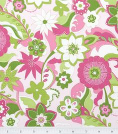 Keepsake Calico Fabric-Pucci Floral pink green with Metallic Thread Accent