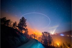 June, 2014. The Shirley Fire burns at night off of Old State Rd near Lake Isabella. A helicopter circles overhead and crews work on a slopover.   Photo by Stuart Palley http://www.wired.com/2015/08/stuart-palley-terra-flamma-hellish-beauty-california-wildfires-drought/
