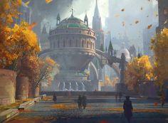 ArtStation Gateway to the Guilds MTG Jedd Chevrier Fantasy concept art Fantasy city Fantasy landscape