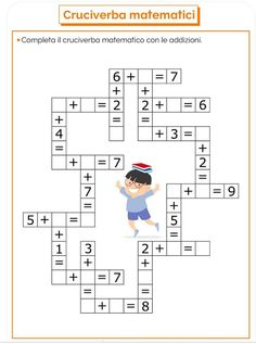 Krzyżówka mathematyczna z dodawaniem i odejmowaniem PianetaBambini. First Grade Math Worksheets, Kindergarten Math Activities, Preschool Printables, 1st Grade Math, Homeschool Math, Math For Kids, Fun Math, Math Lessons, Kids Education