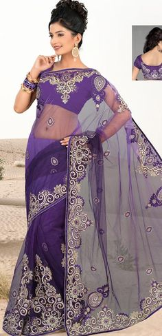 $135.75 Purple Net Saree 20619 With Unstitched Blouse