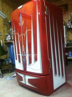 Old Fridge Pin Striping Vintage Refrigerator Man Cave Garage Paint Refrigerator, Painted Fridge, Refrigerator Makeover, Vintage Fridge, Vintage Refrigerator, Garage Art, Man Cave Garage, Rat Rods, Man Cave Fridges