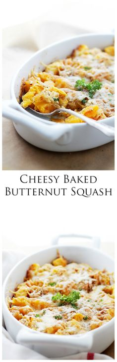 Cheesy Baked Butternut Squash - Chunks of butternut squash tossed with parmesan cheese and white cheddar, a sprinkle of delicious-garlicky crumb mixture. Side Dish Recipes, Vegetable Recipes, Vegetarian Recipes, Cooking Recipes, Healthy Recipes, Thanksgiving Side Dishes, Thanksgiving Recipes, Baked Butternut Squash, Pasta