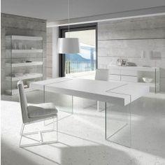 Mesa Comedor Moderna CP1110D Lacado Perla Brillo de Angel Cerdá. Muebles modernos de diseño en Nuryba.com