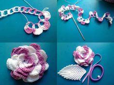 Tejido Facil: Paso a paso: hermosa flor combinada al crochet