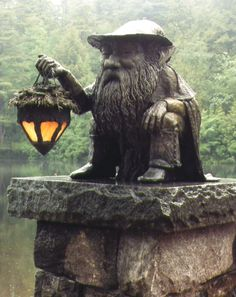 Faeries, Cob, Castles & Magic Little Gnome Light Statue for the Garden. i've never taken to gnomes f Garden Whimsy, Gnome Garden, Garden Gate, Herb Garden, Vegetable Garden, My Secret Garden, Secret Gardens, Garden Statues, Gnome Statues