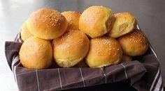 Chef John, Sweet Potato Burger & Slider Buns - Make Your Own Hamburger Buns! Potato Bun Recipe, Hamburger Bun Recipe, Hamburger Buns, Sweet Potato Rolls, Sweet Potato Burgers, Crumpets, Food Network Recipes, Cooking Recipes, Fun Recipes