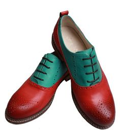 Green ane rosybrown oxford shoes by UniqueFlavor on Etsy, $100.00