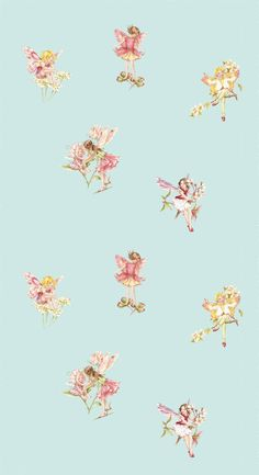 Tapet 71207: Flower Fairies Turquoise från Jane Churchill - Tapetorama