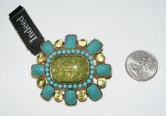 Faux turquoise lucite / resin Rhinestone & confetti stone BROOCH pin fashion