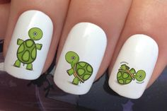 nail art set #670 x 20 green baby tortoise turtle water transfer decals stickers manicure set #ad #Etsy #nailart #turtle #turtles