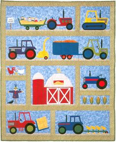 On The Farm Baby Quilt Pattern by Country Quilter Barn Tractors