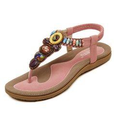 45e30b662 Shop for Zicac Womens New Rhinestone Elastic T-strap Bohemia Style Roman  Bead Folk Style Round Peep Toe Summer Beach Dunlop Toe Post Sandals Flip  Flops Flat ...