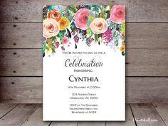 DIY Floral Shabby Chic Custom Invitation Baby por MagicalPrintable