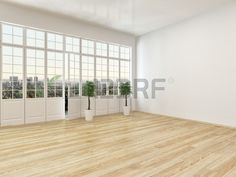 Empty living room interior with parquet floor and a large panoramic view window with a door leading  Stock Photo
