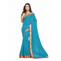 DEEP SKY BLUE COLOR CHIFFON PLAIN SILK SAREE