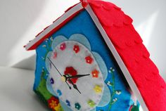Rainbow Cottage clock by bettyoctopus on Etsy, €65.00