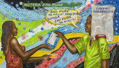 Papa Mfumu'Eto 1er - Série miniatures - Eau pure, 2013, acrylique sur toile, 20 x 34,5 cm