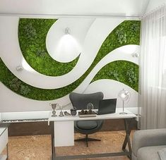 Starting a Vertical Garden – Style Gardening Office Interior Design, Office Interiors, Modern Interior, Moss Wall Art, Moss Art, Wall Design, House Design, Geometric Wall, Wall Decor