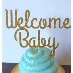 Welcome Baby Glitter Cupcake Toppers Set of 12 by TheLittlePopShop