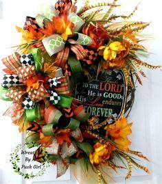 """Fall Grapevine Wreath,""""Give Thanks"""" Wreath,Autumn Wreath,Bows…"""