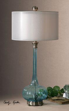 Carolyn Kinder Aqua Glass Lamp